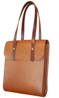 leather tote with flap - leather bag making course